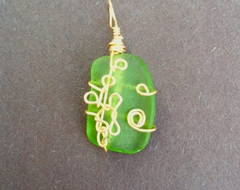 Dancing Goddess Green Sea Glass Necklace, Pendant or Charm