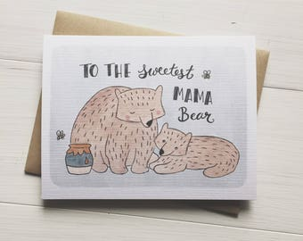Mama Bear - mothers day card, gift for mom, cute mothers day, card for mom, card from kids, handmade card, watercolor card, bear card