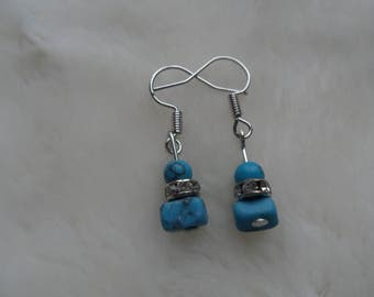 turquoise gemstone crystal dangle earrings