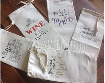 Wine Totes, Customize with wedding colors, monograms, bridal party information, Wine Tote Gift Bag