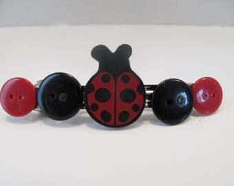 Lady Bug Button Barrette, Birthday Gift, Gifts for her, Gifts for girls, Gifts for kids, Gifts for women, Button Barrette, Lady Bug Barrette