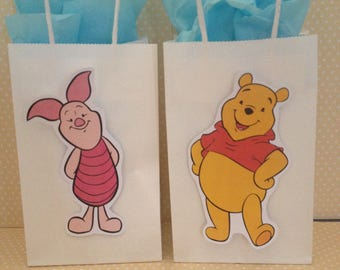 Winnie The Pooh Party Bags With Handles - Set of 10
