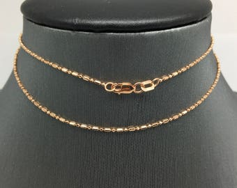 14K Rose Gold Mix Beads Chain