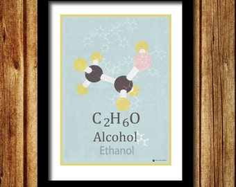 Chemistry molecule print Alcohol print, Ethanol print, Ethanol molecules, science inspired wall art, periodic table, science geek gift