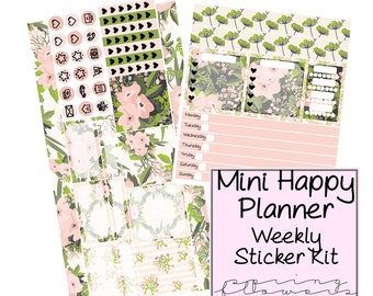 Mini Happy Planner Sticker Kit, planner stickers, sticker kit, weekly sticker skit, happy planner, happy planner sticker kit, floral sticker