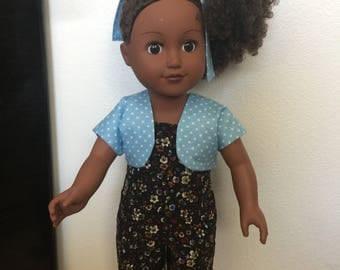 """18"""" Doll Clothes, 3 piece black flowered pinwale corduroy overals with blue and white polka dot vest and hair tie"""