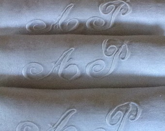 FREE SHIPPING Set of 10 monogram AP vintage French napkins, large white serviettes with initials , antique damask linen napkins.