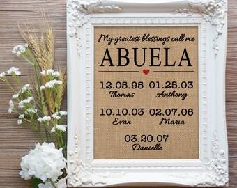 Abuela Valentine Gift, My greatest blessings call me Abuela Burlap Print, Mis mayores bendiciones me llaman Abuela, Spanish Grandma Gift