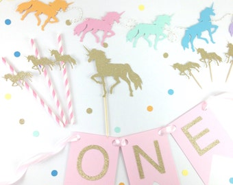 Unicorn party package - birthday decor - rainbow - glitter cake topper - cupcake topper - paper straw - first birthday - unicorn party