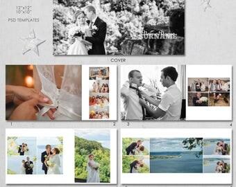 12X12, 10x10  PSD, (40 pages), Wedding Album Template -  20 spread,  Classic Modern Design - AL8