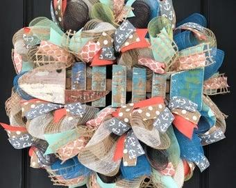Nautical wreath - fish wreath - summer wreath - lake house decor - cabin decor - lake house wreath - summer burlap wreath - fish decor