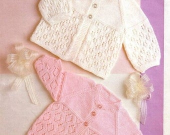 Vintage Knit Pattern 2 styles baby jackets to knit for babies instant download knitting pattern