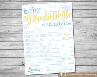 Baby Shower Predictions and Advice Card / Twinkle Twinkle Little Star / Predictions for Baby / Baby Shower Advice Card / Digital File / LS02