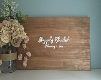 Rustic Wedding Guest Book Alternative, Happily Blended Sign, Painted Rustic Wedding Decor Wedding Guest Wood Guestbook Country Wedding Gift