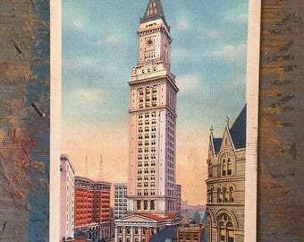 Vintage Post Card, Ephemera from 1934, Post Card with Correspondence of Custom House Tower in Boston Mass. Color Scrapbook Paper Ephemera