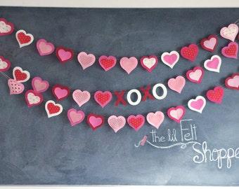 Heart Banner- Valentine's Day- Heart Garland- Valentines Banner- Valentines Garland- Be Mine Banner-XOXO- Felt Garland- Valentines Decor