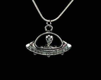 UFO Necklace, 925 Stamped Snake Chain, Choose Length, Tibetan Silver Pendant, Gift Boxed, Free USA Ship, I Want To Believe, Extraterrestrial