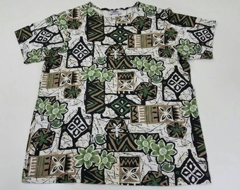 FREE SHIPPING Ys Sport Primadoral Paleozoic Abstract Polynesian Tribal Funk Hawaiian Vomit T Shirt Size Medium Made in USA Vintage 90s