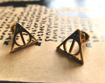 Harry Potter Gold Deathly Hallows Stud Earrings