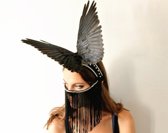 Black crow wing headpiece