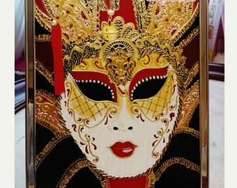 Venice masquerade mask, picture on glass, wall decoration, hand painted, wall hanging
