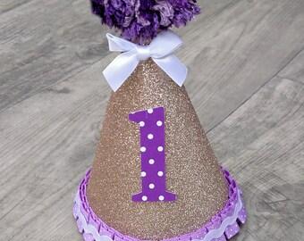 "The ""Lavender Fields"" First Birthday Party Hat,Gold Glitter,Pink and Gold,1st Birthday Hat,Pink and Mint,Cake Smash Hat, Purple Birthday Hat"