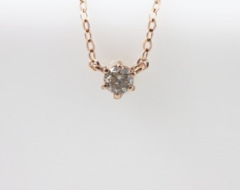 14K solid gold brown diamond necklace, cognac diamond,champagne diamond necklace, 0.1 ct diamond solitaire diamond necklace, diamond pendant