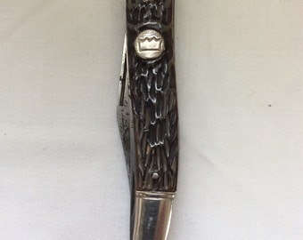 Fishing knife, Scaling knife, Imperial Prov. R.I., Crown insignia, Celluloid handle, Multi blade knife,