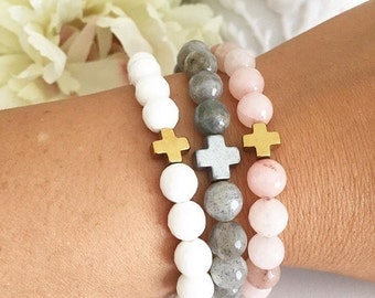 Signature GLB double decade rosary bracelet in white moonstone, labradorite, or pink jade