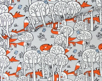 Cotton Fabric Foxes in Forest - White, Grey, Orange   - Metr, Fat Quarter