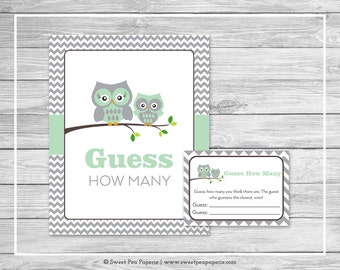Owl Baby Shower Guess How Many Game - Printable Baby Shower Guess How Many Game - Green Owl Baby Shower - Guess How Many - Owl Baby - SP137