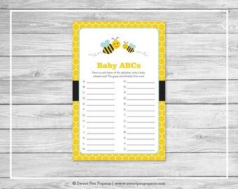 Bumble Bee Baby Shower Baby ABCs Game - Printable Baby Shower Baby ABCs Game - Bumble Bee Baby Shower - Baby ABCs Game - Bee Shower - SP138