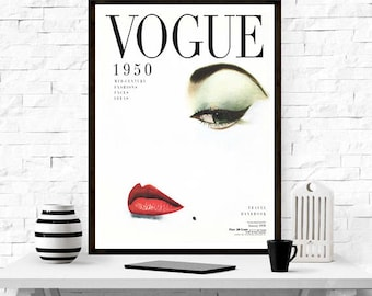 1950s vogue cover magazine cover home dcor vintage poster fashion magazine - Vogue Decor Magazine