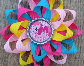 My Little Pony inspired hair bow, My Little Pony inspired bow, Pinkie Pie, hair bow, bow