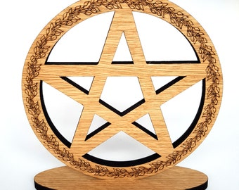 Altar Pentacle made from 10mm Oak Veneer free standing with its own base