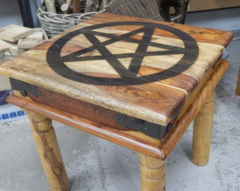 Indian rose wood table with a pentacle