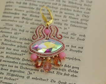 Handmade Soutache Earrings - Rose Gold Beauty