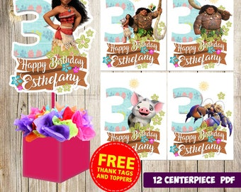 12 Moana Centerpieces Printable Party Supplies Birthday Favors