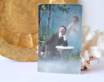 Antique Postcard Mustache Man, Lovers Postcard, Scrapbooking Postcards, Ephemera