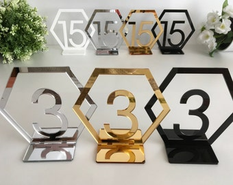 Geometric Table Numbers, Hexagon Table Numbers, Reception table numbers, Wedding freestanding numbers Wedding Sign, Gold wedding centerpiece