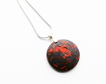 "Abstract Modern Red Blue Polymer Clay Pendant with Sterling Silver Bail and OPTIONAL 18"" Sterling Silver Snake Chain Gifts for Her"