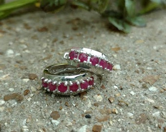 Vintage Ruby Earrings Sterling Silver Hoop Earrings .93 Carat ~ Sale Expires Today
