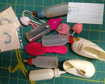 Baby Doll Accessories Bottle Brush, Wristlet, Shoes Lot #1
