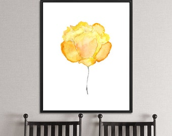 Yellow rose print, rose art, flower art print, watercolor flower, floral art, watercolor painting, yellow decor, flower wall art - 6