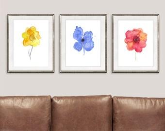 Watercolor flower art print, flowers paintnig, colorful decor, floral wall art,  set of 3 prints - 11/94/95