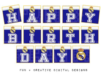 Real Madrid Inspired birthday bunting banner
