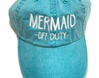 Mermaid - Off Duty - Embroidered Trucker Hat, Beach Hat, Spring Break Hat, Summer Hat