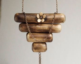 Wooden Necklace// Antique Copper Necklace// Melon Seed Flower// Organic// Lovingly handmade.