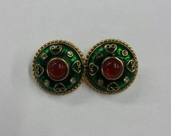 Green and red enamel rhinestone heart stud earrings