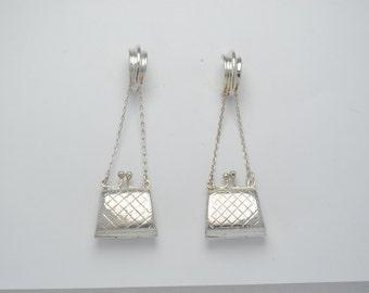 Sterling silver earrings - vintage earrings - dangling earrings - earrings with a bag - Iroquoise